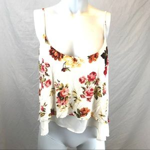 Cream Floral Crop Top with Layers